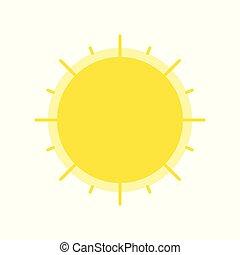 plat, soleil, isolé, vecteur, conception, icône, briller