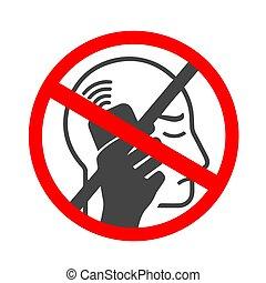 plat, sonner, non, mobile, interdit, apps, vibrer, sites web, téléphone portable, téléphone., ou, icône