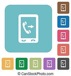plat, sortant, carrée, arrondi, icônes, mobile, appeler
