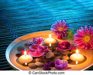 plat, spa, à, flotter, bougies