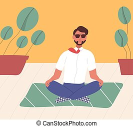 plat, spirituel, sien, yoga, pratique, plancher, bureau.,...