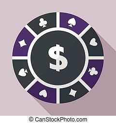 plat, splinter, casino, vector, geluksspelletjes, pictogram