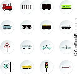 plat, spoorweg, set, iconen