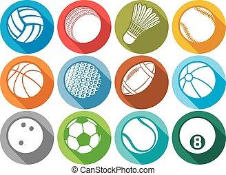 plat, sportende, bal, iconen