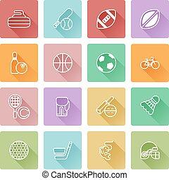 plat, sportende, iconen
