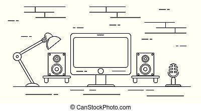 plat, sprekers, microfoon, opnamestudio, thuis