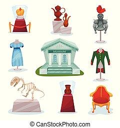 plat, squelette, ensemble, moyen-âge, doré, musée, armure, dinosaure, vecteur, luxe, couronne, chevaliers, ancien, chaise, vêtements, cruches, exhibits.