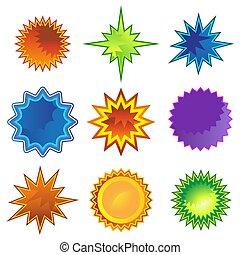 plat, starburst, ensemble, étoile, icône
