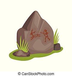 plat, steen, prehistorisch, jacht, rock-painting., leeftijd, grass., groot, thema, oud, groene, vectir, animal., pictogram, tekening, man