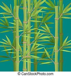 plat, stengels, bladeren, realistisch, thema, groene, bamboe