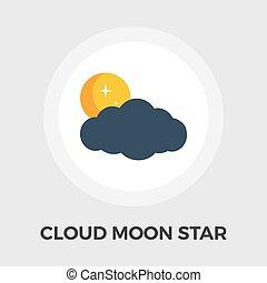 plat, ster, maan, vector, wolk, pictogram