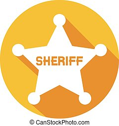 plat, ster, sheriff, pictogram