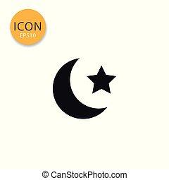 plat, ster, vrijstaand, maan, style., pictogram
