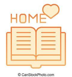 plat, stijl, 10., iconen, helling, app., favoriet, eps, style., sinaasappel, boek, web, modieus, thuis, icon., lezende , ontwerp, ontworpen
