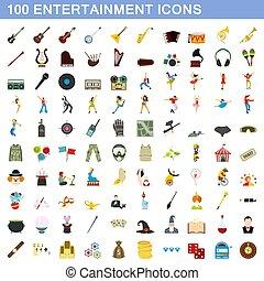 plat, stijl, amusement, set, iconen, honderd