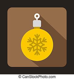 plat, stijl, bal, boompje, gele, kerstmis, pictogram