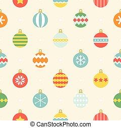 plat, stijl, bal, ouderwetse , seamless, ster, streep, ontwerp, model, gevarieerd, sneeuwvlok, kleurrijke, zulk, kerstmis
