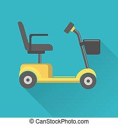 plat, stijl, beweeglijkheid, scooter, pictogram
