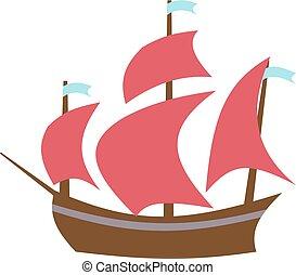 plat, stijl, boat., zeilend, vector, illustration.
