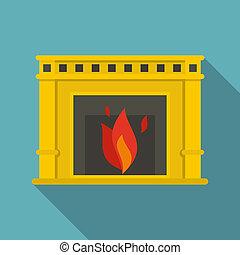 plat, stijl, burning, vuur, pictogram, openhaard