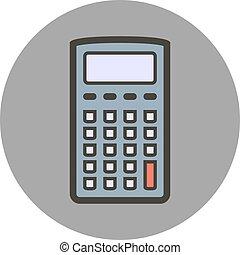 plat, stijl, calculator., vector