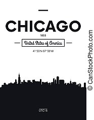 plat, stijl, chicago, stad, poster, illustratie, skyline, vector