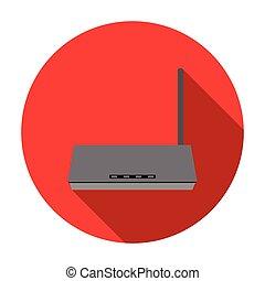 plat, stijl, computer, illustration., persoonlijk, symbool, vrijstaand, achtergrond., vector, router, witte , pictogram, liggen