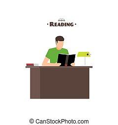 plat, stijl, concept, boekjes , lezende