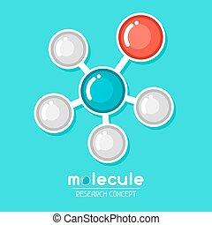 plat, stijl, concept, emblem., moleculair onderzoek, structuur