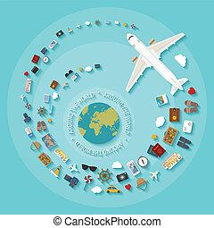plat, stijl, concept, industry., moderne, vector, toerisme