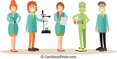 plat, stijl, concept, mensen, wetenschap, illustratie,...