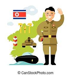 plat, stijl, concept, noorden, illustration., kleurrijke, vector, korea., spotprent