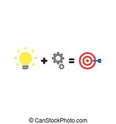 plat, stijl, concept, oog, centrum ontsteken, gelijken, stier, vector, ontwerp, toestellen, bol, plus, pijl
