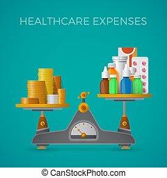plat, stijl, concept, schalen, kosten, gezondheidszorg, evenwicht