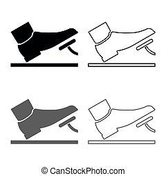 plat, stijl, concept, schets, dienst, kleur, auto, beeld, voortvarend, gas, grijze , illustratie, eenvoudig, set, black , pedaal, voet, rem, pictogram