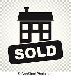 plat, stijl, concept, zakelijk, eenvoudig, woning, sold, vrijstaand, illustratie, achtergrond., vector, pictogram., icon.