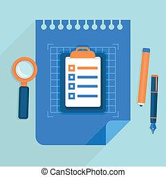 plat, stijl, concept, zakelijk, -, vector, plan, pictogram