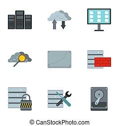 plat, stijl, de pictogrammen van de computer, set, bescherming