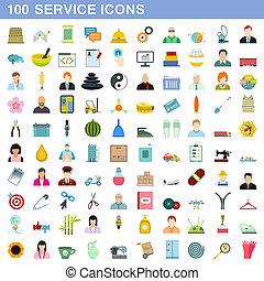 plat, stijl, dienst, iconen, set, honderd