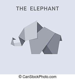 plat, stijl, dieren, illustratie, ontwerp, elefant, origami