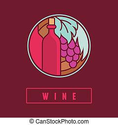 plat, stijl, eenvoudig, etiket, vector, wijntje