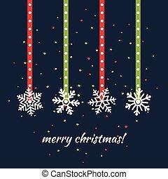 plat, stijl, eenvoudig, ontwerp, kerstmis kaart