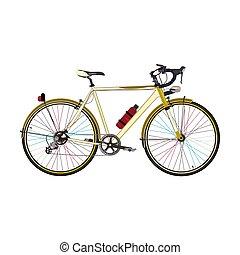 plat, stijl, fiets, vector, illustratie, straat