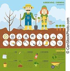 plat, stijl, grafisch, werken, infographic., ontwerp, tuinieren, landbouw, template.