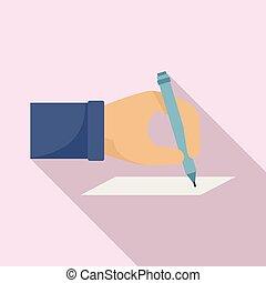 plat, stijl, hand, verkiezing, pictogram, meldingsbord