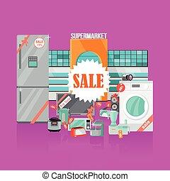 plat, stijl, huisgezin, supermarkt, sale., toestellen