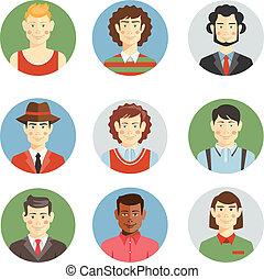 plat, stijl, iconen, mannen, jongens, gezichten