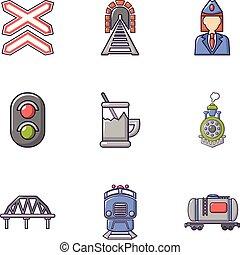 plat, stijl, iconen, set, beheerder, spoorweg