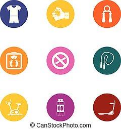 plat, stijl, iconen, set, cultuur, lichamelijk