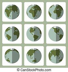 plat, stijl, iconen, set, globe, vector, aarde